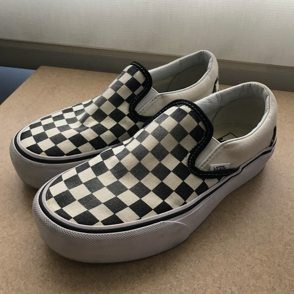 4f369a76e72 Available Vans checkerboard platform slip ons. M 5ac7cc5472ea888e4f3c7911